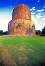 Stupa from  Sarnath buddhist temple Royalty Free Stock Image