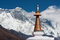 Stupa at tengboche view of monastery with mt everest nuptse to lhotse ridge and ama dablam in the background solu khumbu Royalty Free Stock Image