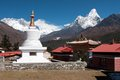 Stupa at tengboche view of monastery with mt everest nuptse to lhotse ridge and ama dablam in the background solu khumbu Stock Images