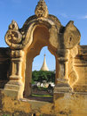 Stupa trough a door Stock Photo