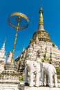 Stupa at wat saen fang temple in chiang mai thailand ancient construction of public property Royalty Free Stock Photo