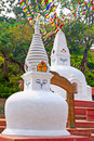 Stupas in swayambhunath monkey temple kathmandu nepal white Royalty Free Stock Photo
