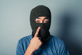 Stupid man wearing a balaclava Royalty Free Stock Photo
