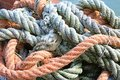 Sturdy hemp rope and nylon for sea fishermen in the harbour area Royalty Free Stock Photography