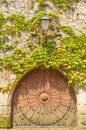 Sturdy wooden door vertical take a Stock Image