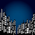 Style Cartoon Night City Skyline Background. Royalty Free Stock Photo
