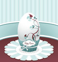 Style Easter Egg with drawing flowers bow and labe Royalty Free Stock Image