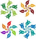 Style leafs logo illustration art of a with isolated background Royalty Free Stock Photography