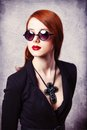 Style redhead women woman on grey background Stock Images