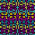 Style seamless knitted pattern blue purple yellow color illustration from my large collection of samples of fabrics Stock Image