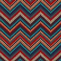 Style seamless knitted pattern red blue brown yellow orange color illustration Stock Image