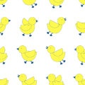 3 styles of yellow birds line up on white background. Seamless
