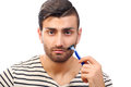 Styling beard young man with concentration Royalty Free Stock Image