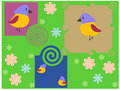 Stylised background with flower and birds Royalty Free Stock Photos