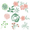 Stylised flowers drawing hand drawn leaves and Royalty Free Stock Photography