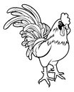 Stylised rooster illustration an of a or cockerel perhaps a tattoo Stock Image