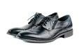 Stylish black leather men laced shoes