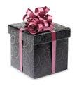 Stylish black present box Royalty Free Stock Photo
