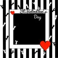 Stylish black and white valentines day background. Template with border box. little rabbit and red heart, square shape frame on