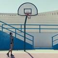 Stylish blonde on the basketball court Royalty Free Stock Photo