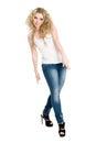 Stylish blonde girl dancing hip hop. Stock Images
