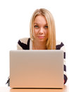 Stylish blonde woman working on Stock Images