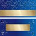 Stylish blue and gold greeting cards Stock Photography