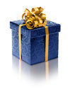 Stylish blue present box Royalty Free Stock Photo