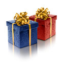 Stylish blue and red present boxes Royalty Free Stock Photo