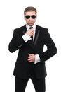 Stylish bodyguard with sunglasses portrait of isolated over white background Royalty Free Stock Images
