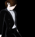 Stylish boy in tuxedo in anime style Stock Image