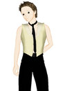 Stylish boy in vest in anime style Stock Photography