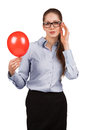 Stylish business woman with inflated red ball Stock Photo