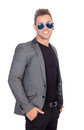 Stylish businessman with sunglasses isolated on a white background Royalty Free Stock Photography