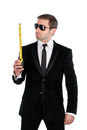 Stylish businessman in sunglasses with tape measure isolated on white background Stock Images