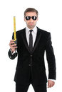 Stylish businessman in sunglasses with tape measure isolated on white background Royalty Free Stock Photography