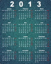 Stylish calendar for 2013 on denim background Royalty Free Stock Images