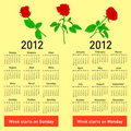 Stylish  calendar with flowers  for 2012. Royalty Free Stock Photo