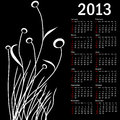 Stylish calendar with flowers for 2013. Royalty Free Stock Image