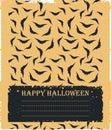 Stylish card with flying bats silhouettes on orange bac
