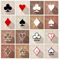 Stylish card suit icons icon set four base casino gambling symbols for web or mobile design Royalty Free Stock Photo