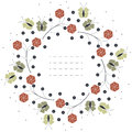 Stylish circle frame with red flowers and green butterflies isol Royalty Free Stock Photo