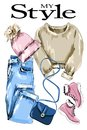 Stylish clothes outfit. Fashion clothing set: knitted