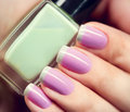 Stylish colorful nails and nailpolish Royalty Free Stock Photo