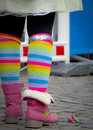 Stylish colourful socks of a teenager Royalty Free Stock Photo