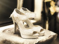 Stylish and elegant bridal shoes still life photograph on a pair of vintage high heel Stock Image