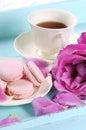 Stylish, elegant, shabby chic style afternoon tea tray - vertical closeup. Royalty Free Stock Photo