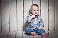 Stylish fashion kid in bow tie Royalty Free Stock Photo