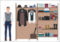 Stylish fashion man and men`s wardrobe. Vector Men`s dressing room design. Clothes and shoes on hangers.