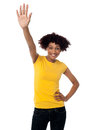 Stylish female waving her hand at you Royalty Free Stock Photos
